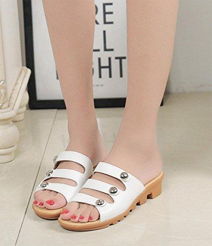 sandalias planas de manera femenino con la palabra arrastran las sandalias planas y zapatillas casuales deslizan femenina White
