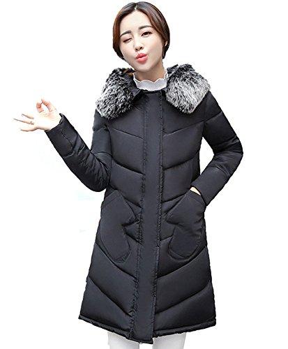 Chiguo Mujer Largas Chaqueta Abrigo con Capucha Artificiales Pelaje Collar Invierno Cálido Chaquetas para Mujer S-XXL Negro
