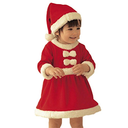 CoKate Baby Girls Santa Claus Costume Dress for Christmas Day/Party/Show (12-18 Months)]()