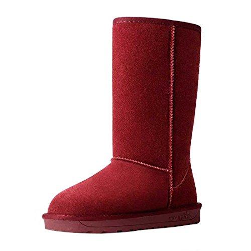 HooH Damen Leder Simple Warm Schneestiefel 5815 Rot