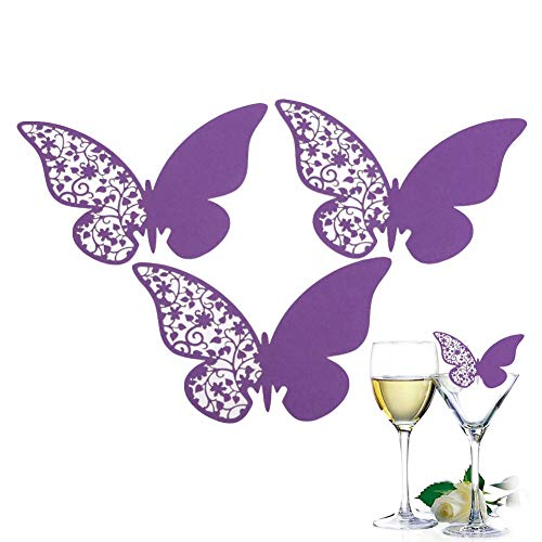 50pc Butterfly Shaped Butterfly Wine Glass Paper Card Laser Cut Escort Cup Name Place Card Birthday Party Wedding Decorations