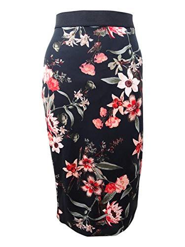 Alfani Womens Scuba Floral Pencil Skirt Black M