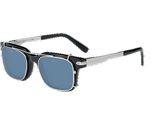 Vuarnet VL140500010622 Clip-On Sunglasses Black Silver Frame PolarLynx Polarized Grey Glass - Sunglasses Vuarnet Prescription