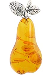 Sterling Silver Pear Russian Baltic Amber Brooch Pin, 2 1/16 inch wide
