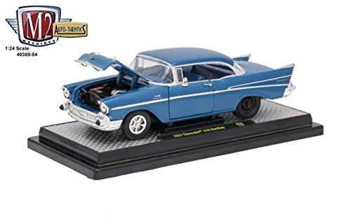 (Chevrolet 1957 210 Hardtop Sleeper- Hot Rod/Drag Car Harbor Blue Metallic 1/24 by M2 Machines 40300-54A)