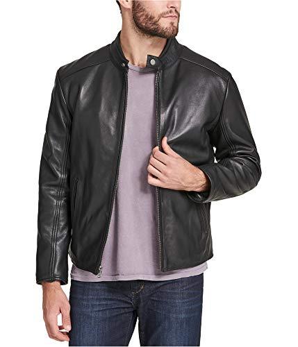 Marc New York Mens Leather Moto Motorcycle Jacket Black L ()