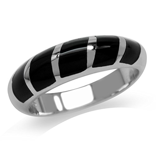 5-Stone Created Black Onyx Inlay White Gold Plated 925 Sterling Silver Ring Size 8 - Onyx Inlay