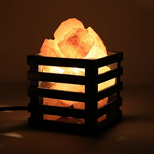 Homdox Himalayan Salt Lamps, Nature Air Purifier Salt Rock Light with Vintage Wood Basket Dimmable Switch for Home Office Table Decoration (Black)