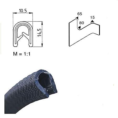 EUTRAS Protection des bords 2181 KS1151 Profil de serrage Keder Noir 3 m Plage de serrage 3-6 mm