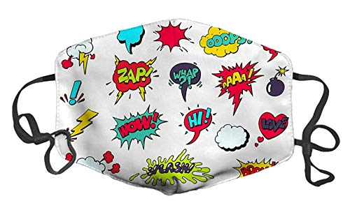Comic Speech Bubbles Custom Mouth Mask Anti-Dust Face Mask Adjustable Buckle Face Mask