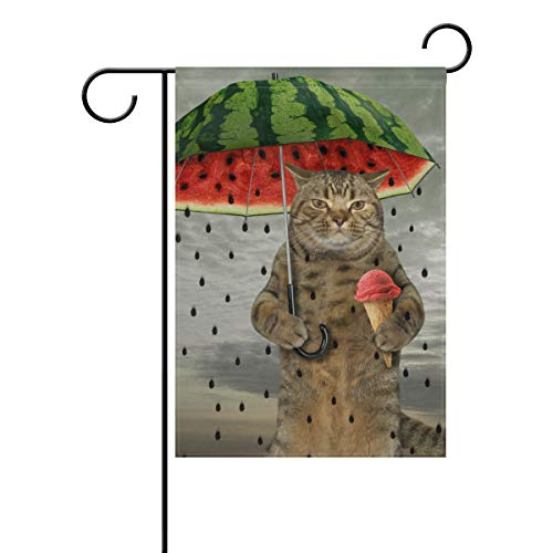 (ZZKKO Double Sided The Cute Cat is Holding Watermelon Umbrella Fruit and Ice Cream Polyester Garden Flag Banner 12 x 18 Inch for Outdoor Home Garden Flower Pot Decor)