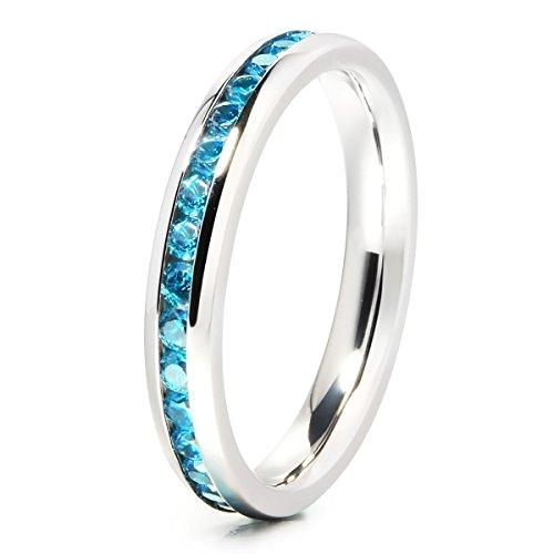 3mm Princess Cut Ladies Eternity Titanium Ring Engagement Wedding Band with Blue CZ Inlay(4.5)