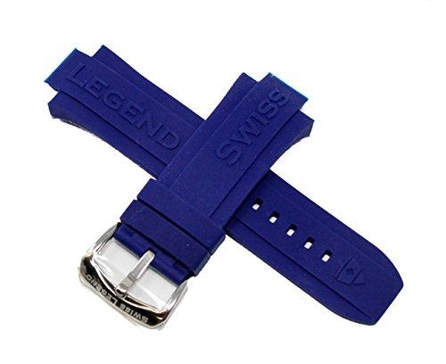 Swiss Legend Throttle - Swiss Legend 30MM Indigo Blue Silicone Rubber Watch Strap w/Stainless Buckle fits 46mm Throttle Watch