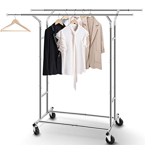- Simple Trending Double Rail Clothing Garment Rack with Wheels,Collapsible & Extendable,Heavy Duty Capacity 200 lbs, Chrome