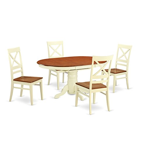 East West Furniture AVQU5-WHI-W 5 Piece Dining Room Table an