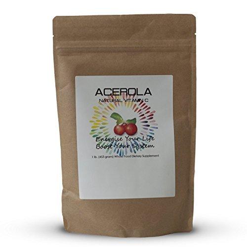 Natural Vitamin C Vitamins Acerola Powder-1 Lb ( 16 Oz-453 grams) by Mr Ros-100% Pure- Wildcrafted