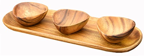Bowl Wooden Colored (Appetizer & Baguette Serving Tray with Dipping and Nut Bowls, 4 inches by 4 inches by 1-1/2, Set Of 4)