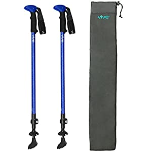 Vive Trekking Poles (Pair) Ultralight Antishock Walking Stick w/Rubber, Ice & Snow Tips Walking Staff for Men & Women