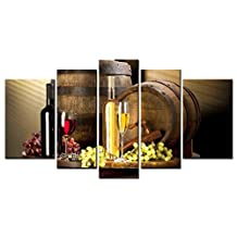 SmartWallArt - Liquor Series Home Decor Artwork Oak Barrels Cabernet White Wine on Wooden Table Wall Art 5 Piece Paintngs Print on Canvas Framed for Living Room