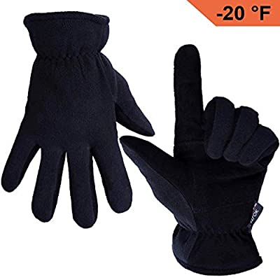 OZERO Deerskin Suede Leather Palm and Polar Fleece Back with Heatlok Insulated Cotton Layer Thermal Gloves, Large - Denim-Black