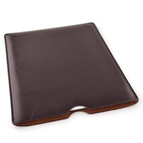 (Dockem Executive Sleeve for iPad 1, 2, 3, 4; Slim, Premium Synthetic Leather Case for iPad; Also fits iPad Air or iPad 9.7 with Smart Cover; Microfiber Lined, Protective Tablet Pouch [Dark Brown])