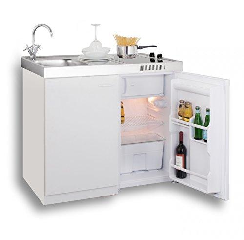 MEBASA MK0006 Singleküche, Miniküche 100 cm Weiß mit Duo-Ceran ... | {Singleküche miniküche 5}
