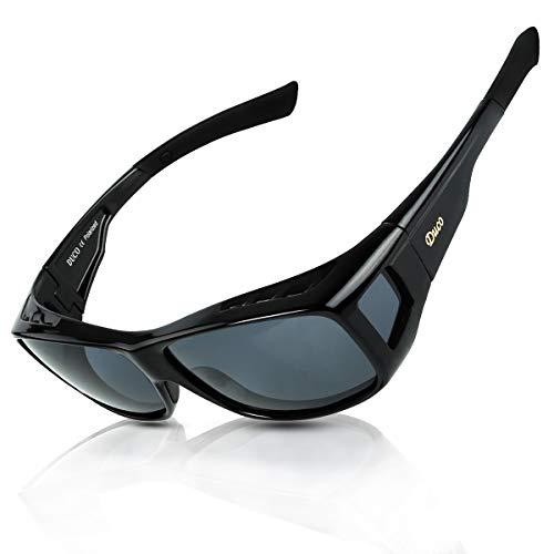 DUCO Unisex HD Wraparound Prescription Glasses Polarized Sunglasses 8954 (L Size Black/Grey)