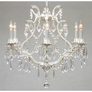 White Wrought Iron Crystal Chandelier Lighting! H 19