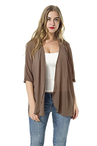Women's Short Sleeve Beachwear Sheer Chiffon Kimono Cardigan Solid Casual Capes Beach Cover up Blouse (Coffee, L)