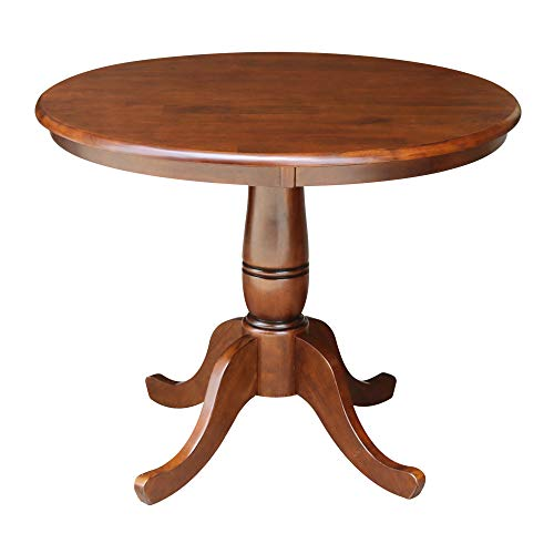 36u0022 Round Top Pedestal Dining Table Brown - International Concepts