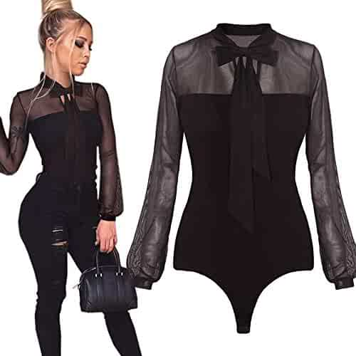 f2c44d877be Rambling New Women Sexy Black Mesh Sheer Long Sleeve Bodycon Bodysuit  Jumpsuit Tops