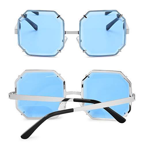 Grande Lunettes Argent Bleu Monture Taille Cadre Femmes Pour Polarisée De Sans Lentille Amztm Soleil 8qdgfwf
