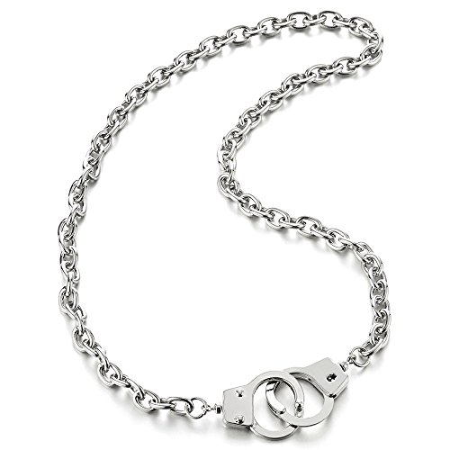 COOLSTEELANDBEYOND Mens Womens Chain Link Handcuff Necklace Silver Color, 26.8 inches Rope Chain, Punk Rock
