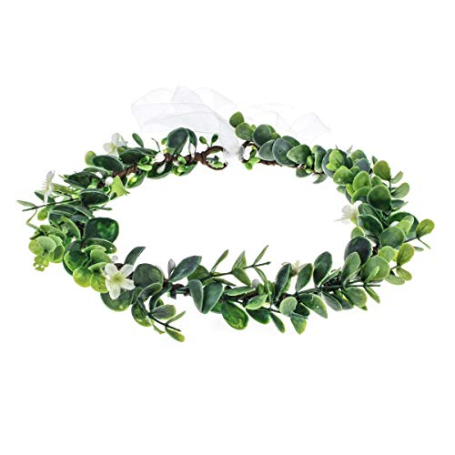 (Floral Fall Succulent Flower Crown Green Leaf Headpiece Wedding Bridal Eucalyptus Halo Maternity Photo Props FL-01 (Green Leaf))