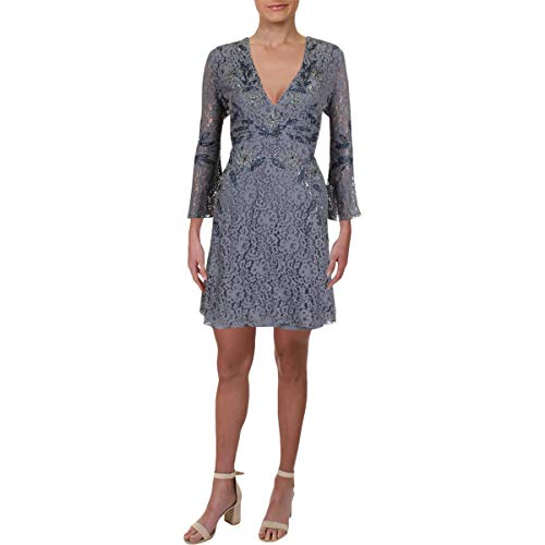 French Connection Women's Esme Shimmer Bell Sleeved Dress, Smokey/Gunmetal 12]()