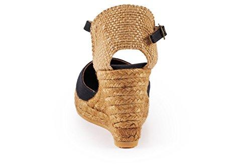 Espadrilles In Spain Toe Closed Classic Viscata strap 7 Heel 6;cm Cuneo Black Satuna Made Ankle 1FFAqZaw