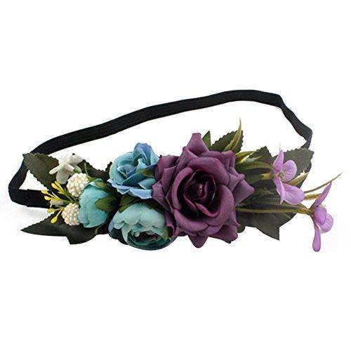 ACTLATI Elegant Rose Flower Headband Wedding Women Girls Elastic Hair Band Travel Photo Cocktail Party Headwear Purple