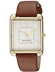 Nine West Womens NW/2116SVBN Gold-Tone and Brown Strap Watch