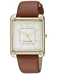 Nine West NW2116SVBN Reloj Análogo para Mujer, color Blanco/Marrón