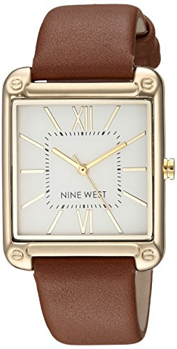 Nine West Women's NW/2116SVBN Gold-Tone and Brown Strap Watch ()