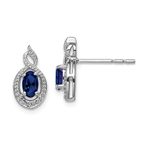 925 Sterling Silver Created Sapphire Diamond Post Stud Earrings Set Birthstone September Fine Jewelry Gifts For Women For Her