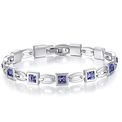 Bracelets Purple Swarovski (Mondaynoon Charm Tennis Bracelet Hand Chain 7.67 Inch with Swarovski Element Crystal for women's Gifts (Purple))