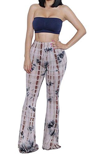 (Womens Tie Dye Bandeau Top Flared Bell Bottom Pants Set Outfits Plus Size XXL)