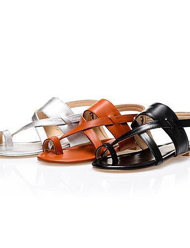 Silver Abierta LFNLYX Sandalias Zapatos Marrón mujer Plata de Tacón Casual Punta Negro Plano Semicuero CFaqC