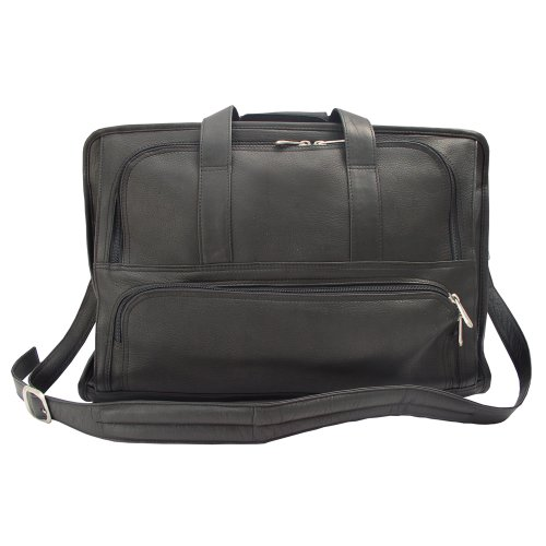 Piel Leather Half-Moon Portfolio, Black, One Size