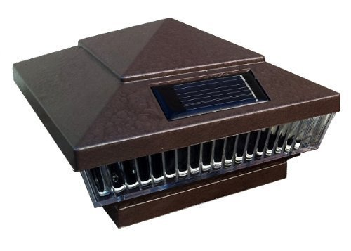 - 6-Pack Solar Hammered Brown Finish Post Deck Fence Cap Lights for 6