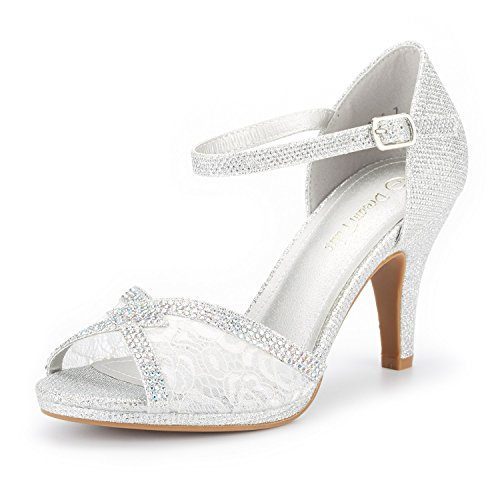 DREAM PAIRS Women's Amore_5 Silver Glitter Fashion Stilettos Open Toe Pump Heel Sandals Size 10 B(M) US