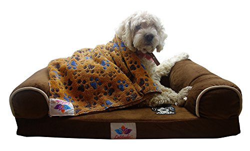 ShamBo Premium Memory Foam Dog Bed with Free Pet Blanket (Most Comfortable Bed for Smaller Sized Dogs and Cats)