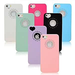 PC Hard Case with Engraving Flower and Heart Shaped Hole Site for iPhone 5/5S (Assorted Colors) , White