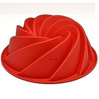 HOSL Rojo Grande forma espiral Bundt Cake Pan Pan Chocolate Para hornear Molde de silicona